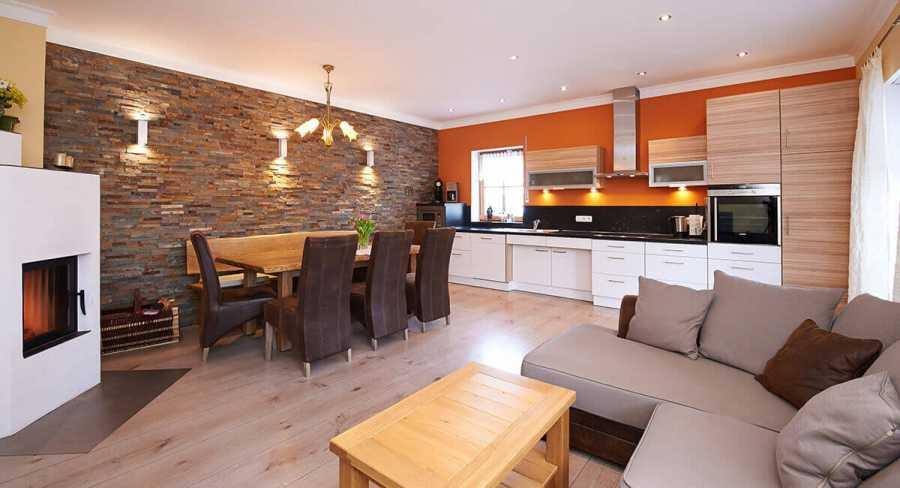 Ferienwohnung EG: großzügiger Koch-/Ess- und Wohnbereich barrierefreie Wohnung